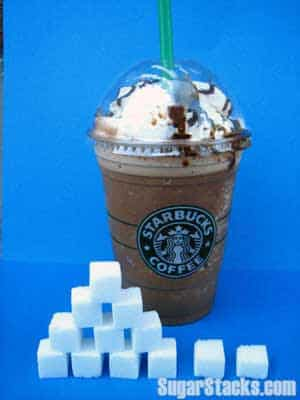 Grams of sugar in Starbucks coffee, calories