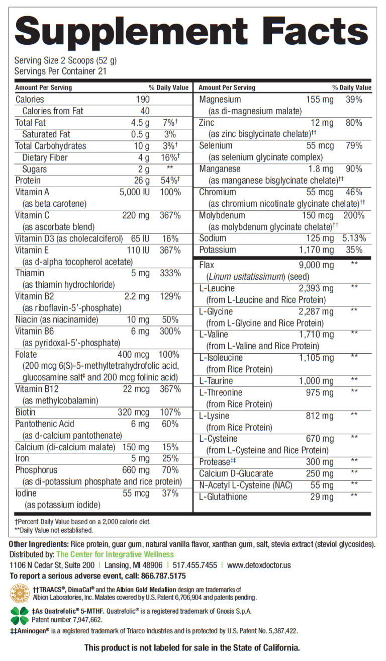 HepataClear Nutrition Facts